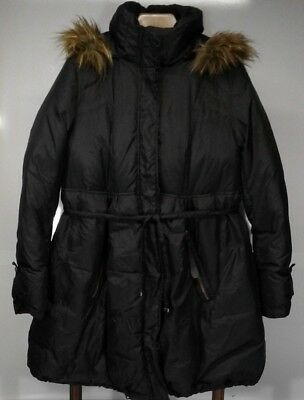 Momo Maternity Down Puffer Coat Women's XL Faux Fur Detachable Hood Black Jacket