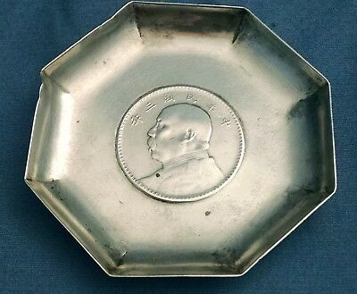 antique chinese china sterling silver dish 1914 yuan shih kai coin inset marked