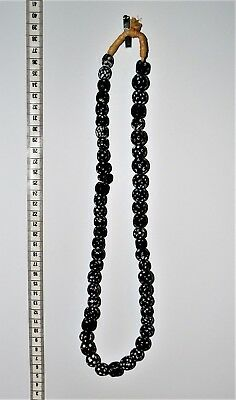 Skunk Venetian Trade Beads Black with White Dots African 26 Inch