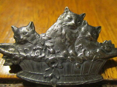 "1940s French White Metal Button ""CATS IN A BASKET"" 1 1/2""~Vtg Antique Realistic"