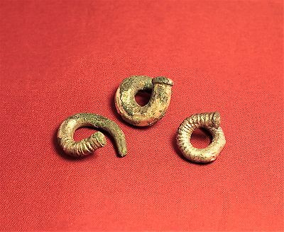 Lot of 3 Ancient Scythian Silver Plated Hair Rings