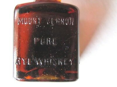 """Antique Advertising Mount Vernon Rye Whiskey Solid Amber Glass Paperweight 3"""""""