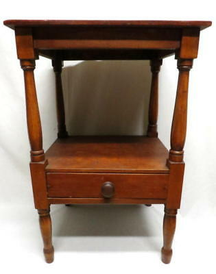 Antique Primitive Country Walnut Night Stand Bedside Cabinet Hall Foyer Table