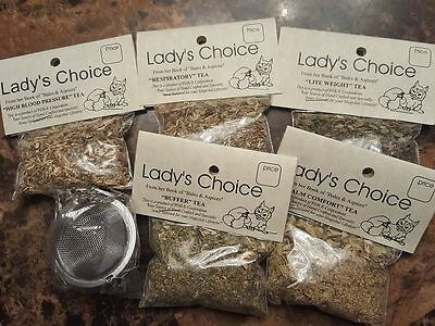 Lady's Choice Herbal tea with tea ball   Wiccan Pagan Holistic Witch herbs   1