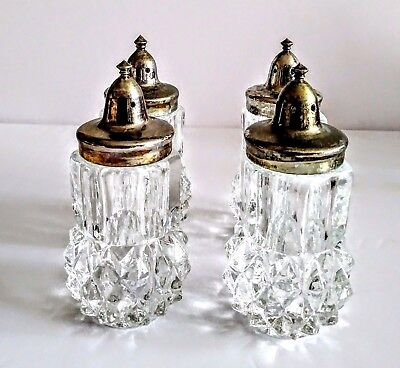 "Vintage 4"" Heavy Cut Glass  Salt and Pepper Shaker Set of 4"