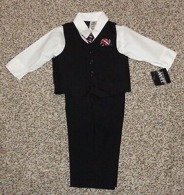 TFW Baby Boys 4 Piece Suit Black Pants Vest White Shirt Necktie 12 Months NEW