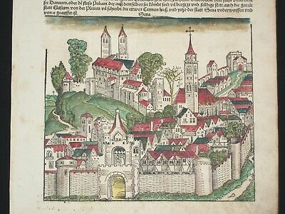 RARE Hand-Painted Nuremberg Chronicle Incunabula Schedel Leaf, Page LXXX, 1493