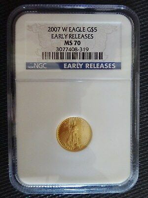 2007-W Burnished $5 American Gold Eagle 1/10 Oz. NGC MS70 EARLY RELEASES
