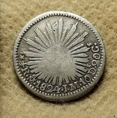 Mexico 1824MoJM 1/2 Real Hookneck Rare 1 year Type #ulit