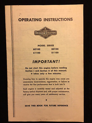 Briggs & Stratton 60100 61100 80100 81100 Gas Engines Operating Instructions