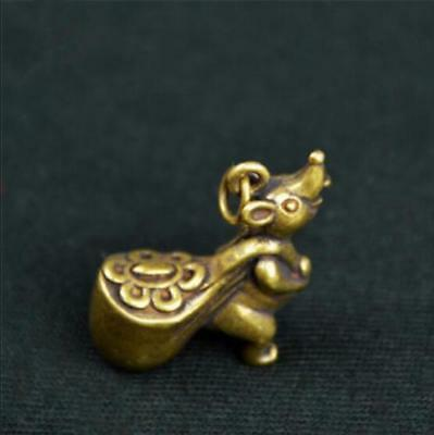 Chinese Old Collectibles pure brass lucky Zodiac mouse pendant