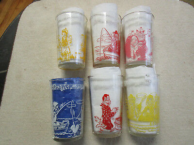 Set of SIX (6) HOWDY DOODY glasses. Welch's Jelly Glasses from the 1950's !!!