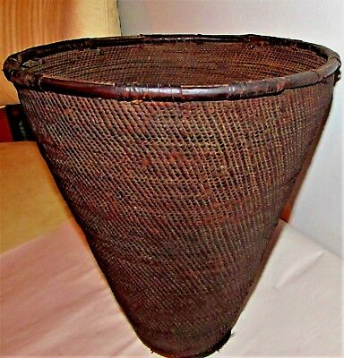 "Antique Tribal Basket / Woven Water Vessel / African / 13"" h x 11"" d"