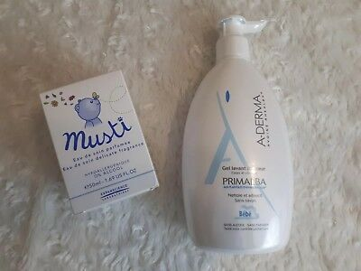 Brand new French baby grooming Mustela Musti fragrance+ A-derma