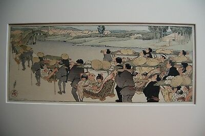 "Extremely Rare Helen Hyde Woodblock ""going To The Fair"" 1910"