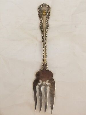 925 Sterling Silver Fork With Gold Nugget 925