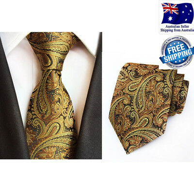 Mens Premium Tie Formal Wedding Party Gold Paisley Pattern Silk Jacquard