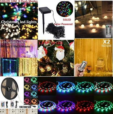 10m Battery Solar Powered Copper Wire String Fairy Xmas Party Lights Warm White