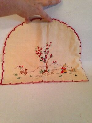 Embroidered Toaster Cover Vintage Linen Thai Tree Deer Fish Asian Oriental