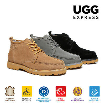 UGG Mini Boots Mens Lace up Shoes Justin - Zipper On The Side, Sheepskin Inner