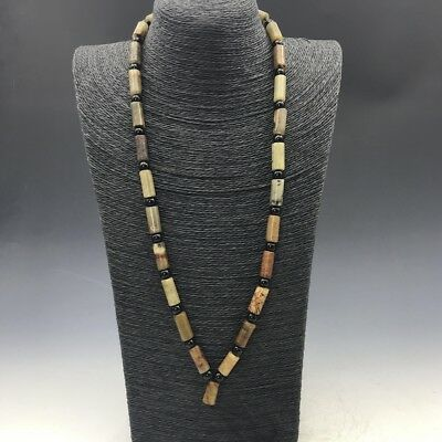 Chinese ancient jade antique 100% natural hand-carved old jade necklace a702