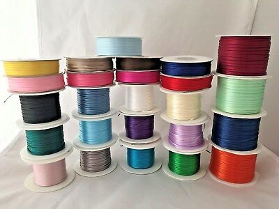 """1/16"""" Satin Ribbon Double Face Polyester Assorted Colors Narrow 100 yds Spools"""