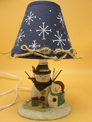 """Hand Craved Wood Snowman Electric Table Desk Light 10"""" x 5"""" Cord 5' w/switch"""