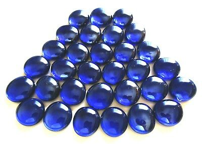 30 x Deep Oceanic Blue Mosaic Lead Light Craft Pebble Art Glass Gem Stones