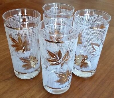 Vintage 4 Ice Tea Cocktail Glasses White & Gold Stripes Culver Look Libbey