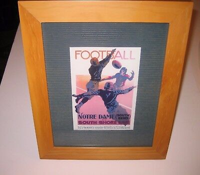 """Notre Dame Football South Shore Line CARD MATTED IN 8"""" X 10"""" WOOD FRAME"""