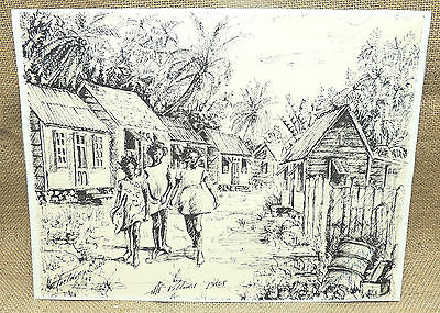 """The Village Bdos ( Barbados ) by Fielding Babb 9"""" x 12"""" Signed Print"""