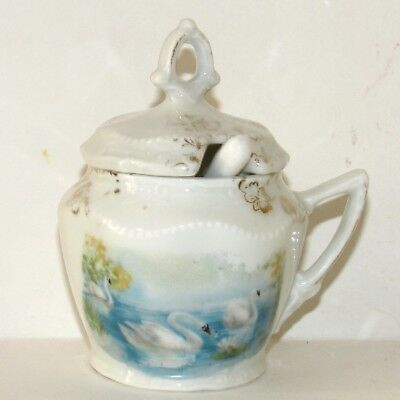 ANTIQUE VICTORIAN Swimming Swans PORCELAIN MUSTARD JAM CONDIMENT JAR Germany