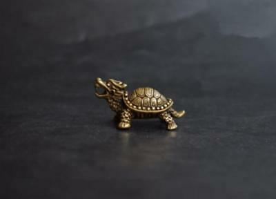 Chinese Old Collectibles Pure brass dragon turtle small statue