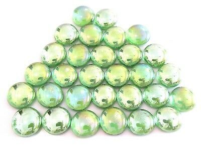 30 x Iridescent Shades of Green Opal Mosaic Lead Light Art Glass Gem Stones