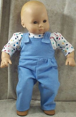 """Doll Clothes Baby Made2 Fit American Girl Boy 15"""" Bitty Overalls Shirt Dots Blue"""