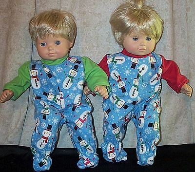 """Doll Clothes Baby Made 2 Fit American Girl 15"""" in Boy Bitty Twins Pajamas 2pc"""