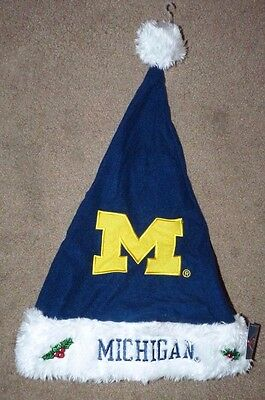 NEW UofM MICHIGAN WOLVERINES FOOTBALL SANTA HAT CHRISTMAS BIG 10 GO BLUE VICTORS