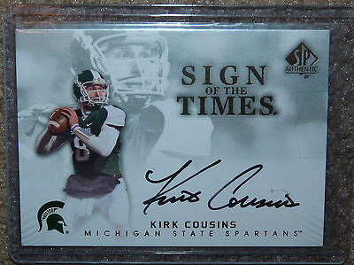 KIRK COUSINS 2012 UPPER DECK SP Authentic Sign of the Times Auto Autograph RC !!