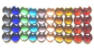 40 x Mixed Rainbow Colours Art Glass Mosaic Craft Lead Light Pebbles Gem Stones