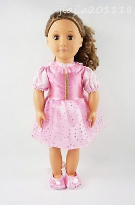 Pink Party Paillette Dress With Shoes Fit For 18'' American Girl Doll Clothes