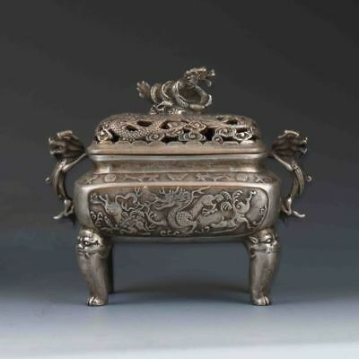 Tibetan Silver Chinese Hand-carved Dragon Incense Burner&Lid XuanDe Mark