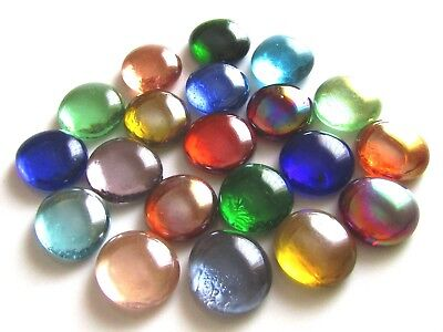 20 x Mixed Rainbow Coloured Mosaic Craft Lead Light Pebbles Art Glass Gem Stones