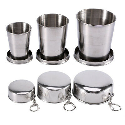 Portable Stainless Steel Collapsible Mug Keychain Drinkware Folding Cup