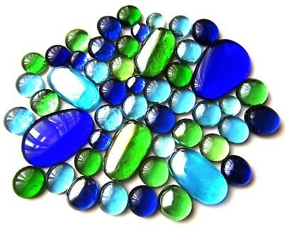 50 x Clear Mosaic Craft Lead Light Art Glass Pebbles Gem Stones - Assorted Sizes