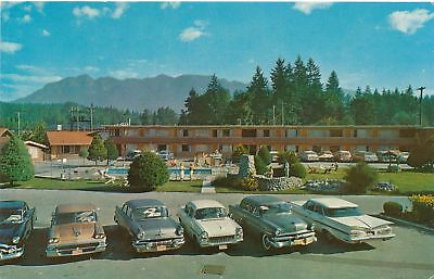 Vintage Postcard Ranch Motel North Vancouver, B.C. Vintage Cars in Parking Lot