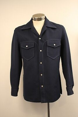 Medium, Blue, Original Vintage Mens Crimplene Shirt Top.