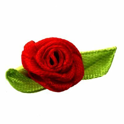 100Pcs Mini Satin Ribbon Rose Flower Leaf Wedding Decor Appliques Sewing Di R8A3