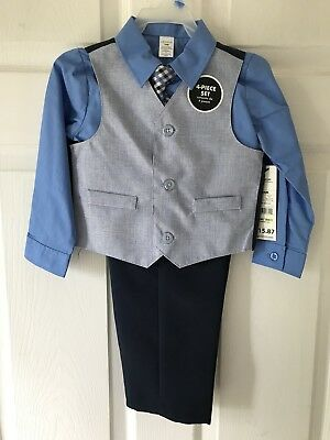 Boys Navy Blue 4-piece Suit Set Pants Vest Tie 24 Months Elastic Waist NEW