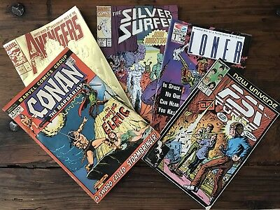 5 Comics Silver Surfer Loner PSI Force Conan Avengers