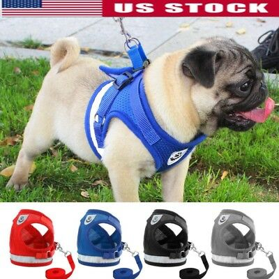 Dog Harness for Chihuahua Pug Pet Control Mesh Walk Collar Vest Harnes & Leash